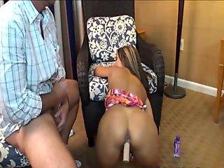Sluty brunette milf with huge tits gets her shaved fish lips licked