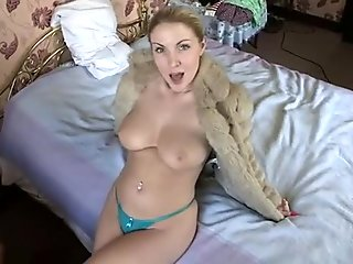 Homemade solo with my dear wife boasting of her boobs