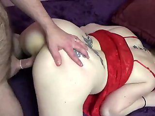 Busty redhead Sinful Skye takes some dick from a geek