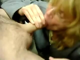 Mature wife sucks co-worker for a favor