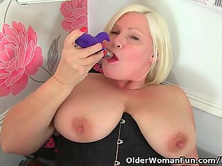 British granny Lacey Starr strips off at the office and mas
