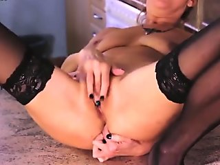 Mature housewife masturbating alone