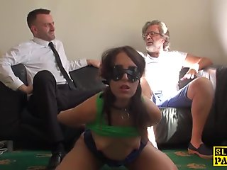 Slutty UK wife rough fucked in front of hubby