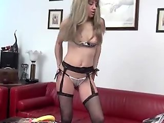 Horny mature wife in black stock part6