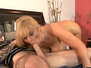 Real busty blonde housewife jumps on a veiny cock