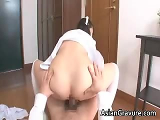 Naughty and sexy asian housewife sucks