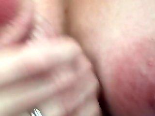 Nice wife handjob cum on nipple slow mo replay