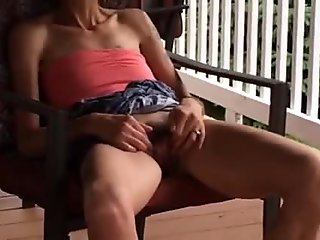 skinny wife lifting dress and playing