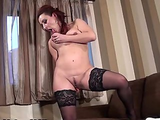 Nasty mature whore with black stockings