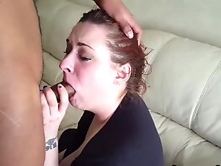 Hot wife sucks big black cock