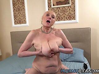 Horny gilf gets creampied
