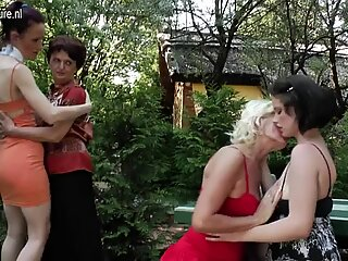 Six old and young lesbians have a dirty wet picnic