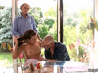 Old husband wife watch fucking