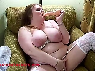 Older big tits mature in white heels and stockings