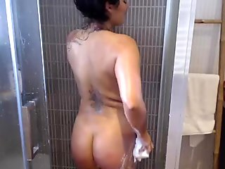Filming my showering BBW Wife Sandra in the shower